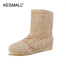 2017 New Summer style boots Women Cut-Outs Fashion Shoes Knitted short lace Boot Spring ankle botas size 35-41 in 8 colors(China)