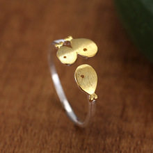 925 Sterling Silver Gold Fish Rings for Women New Design Lovely Girls Christmas Gift Statement Jewelry Adjustable Size Ring