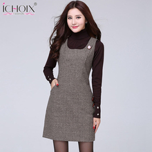 2017 Autumn Winter Woolen vintage Midi Dress New Vest Plus Size Plaid Dress Houndstooth Slim Sexy Office Women Red Gray Vestidos(China)