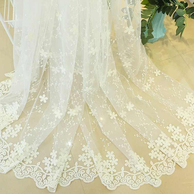 Embroidery Flowers Lace Curtains For Living Room Bedroom Sheer Kitchen Curtain Window Treatment Screen Pink White Tulle wp058&30