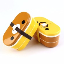 Household Lovely Plastic Bento Lunch Dinnerware Box Brown Color Microwave Rilakkuma Bento Multilayer Children Lunch bento box(China)