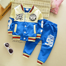 2016New baseball out service boys and girls autumn and winter clothes for the baby cute cartoon printed  shirt + trousers