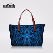 Dispalang Unique Blue Striped Ladies Party Handbags Girls Tote Hand Bag Top-handle Bags Female Shoulder Bag Customized Tote Bags(China)