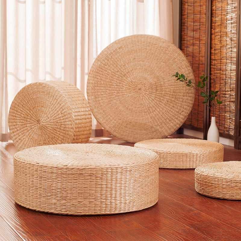 Futon Seat Cushion,Natural Straw Woven Floor Pillow Outdoor,Round Tatami Floor Cushion Sitting,Handmade Meditation Cushion,for Yoga Room A Diameter 40cm 16inch