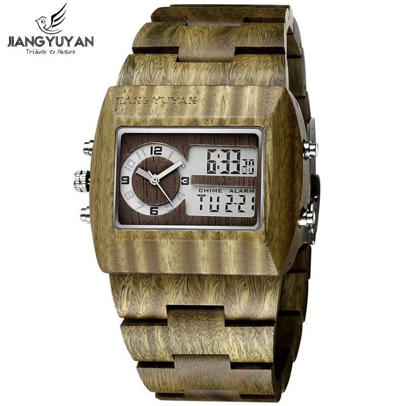 Mens Natural Wood Watch Backlight Analog-Digital Dual Time Antique Watch Men Luxury Top Brand Shock Resistant relogio masculino<br>