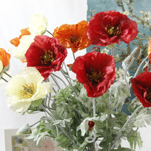 5Pcs Artificial big Poppy flower with leaves fleurs artificielles for autumn fall Home party Decoration wreath fake silk flowers(China)