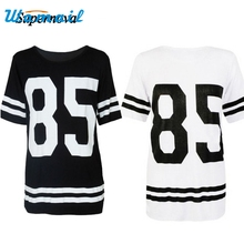 Hot Marketing New  Fashion Womens Short Sleeeve T-Shirt Loose Mini Shirtdress Tops Number 85 Jul16 Drop Shipping