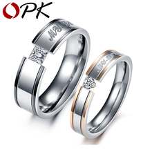 OPK Free Engraved 316L Stainless Steel Rings My Love Circle Shiny Crystal Wedding Rings Fashion Women Men Valentine's Gift 351