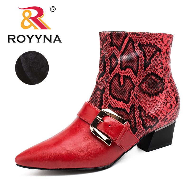 ROYYNA2017 New Style Women Boots Pointed Toe Synthetic Ankle Lady Shoes Zipper Serpentine Synthetic Leather Female Fashion Boots<br>