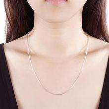 1mm/2mm Silver plated Thin Link Box Chain Necklace for Pendant Charms Hot Gift Jewelry For Girls Womens Pure 925 Stamped Italy(China)
