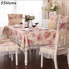 Rustic dining table cloth fabric chair covers table runner coffee tablecloth red / purple flower lace round tablecloth