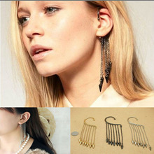 YouMap Girl Stylish Punk Rock Rivet Chain Tassel Dangle Ear Cuff Earring For Women Gothic Ear Clip Clamp C8R3C