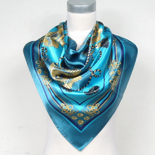 Women Brand Chain Crown Polyester Silk Scarf Printed 90*90cm Fashion Blue Satin Square Scarf New Arrival Female Shawl Wraps(China)