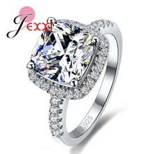 JEXXI Luxury Geniune 925 Sterling Silver Wedding Engagement Rings Shiny Stone Cubic Zirconia Jewelry For Bridal Big Promotion!(China)