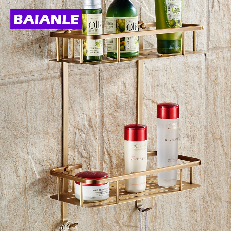 Wall Mounted Antique  NEW Copper Bathroom Shower shampoo Shelf Basket Holder Fashion Double Layer <br>