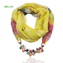 Fashion women scarf necklace beads pendent jewelry wrap bandana ethnic foulard lic winter female accessories multicolor flower(China)