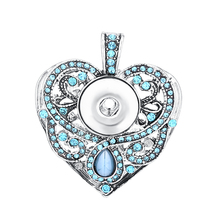 Rhinestone Heart Vintage Snap Pendant fit 18mm/20mm DIY Snap Buttons Antique Silver Plated Pendant Jewelry DIY Findings(China)