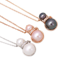 Double Pearls Newest Collier Rose Gold Color Simulated Pearl Pendant Necklaces Jewelry For Women Cheap Fashion 2017(China)