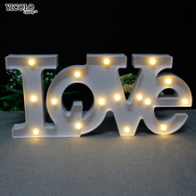 Romantic LED Night Lights big White red LOVE star Sign For Home Wedding Decoration Valentine Gift 2 AA Battery(China)