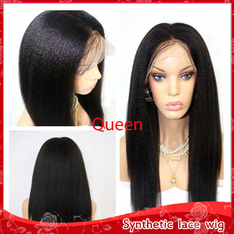 Hot Sale Kinky Straight Hair Heat Resistant Glueless Brazilian Synthetic Lace Front Wig Top Yaki Straight Wigs For Black Women<br><br>Aliexpress