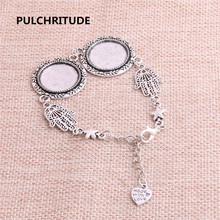 PULCHRITUDE 3pcs 22cm Alloy Antique Silver Chain Bracelet Hand Charm Round Cabochon base Setting Fit 20mm Women Z0018