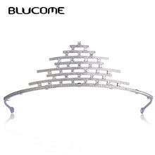 Blucome Unique Wedding Hair Accessories Head Crown Tiaras For Bridals Women Rhinestones Copper Zircon Hairwear Jewelry Bijoux(China)