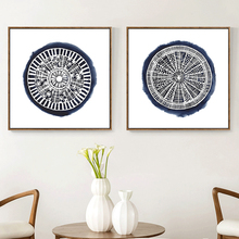 HAOCHU Old Fashion Vintage Chinese Floral Blue And White Porcelain Wheel Canvas Painting Pictures Wall Poster For DIY Home Decor