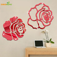 Rose 3D Mirror Wall Stickers For Wall Decoration DIY Home Decor Living Room Wall Decal Autocollant Mural Vinilo Pared(China)
