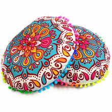 Bohemian Geometric 43*43cm Polyester Floor Pillows Case Chair Pillow Cover Round Cushion Cover Decorative Throw Pillow Case