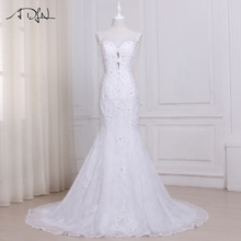 Buy ADLN Real Photo Sexy Mermaid Wedding Dresses Lace Sweep Train Beaded Applique Vestido De Noiva Bridal Gowns Pearls Back for $158.47 in AliExpress store