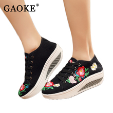 Autumn Shoes Woman Embroidery Increased Platform Shoes Fashion Breathable Walk Canvas Shoes Mujer De Moda 2017 Zapatos Mujer(China)