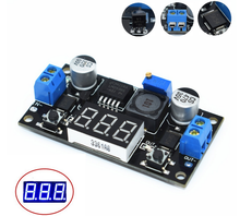 LM2596 BUCK 3A DC-DC Voltage Adjustable Step-Down Power Module + Blue LED Voltmeter (hei)