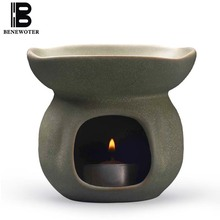 Handmade Ceramic Pottery Oil Aroma Burner Aromatherapy Lamps Candles Heating Incense Burner Natural Essential Oils Air Freshener(China)