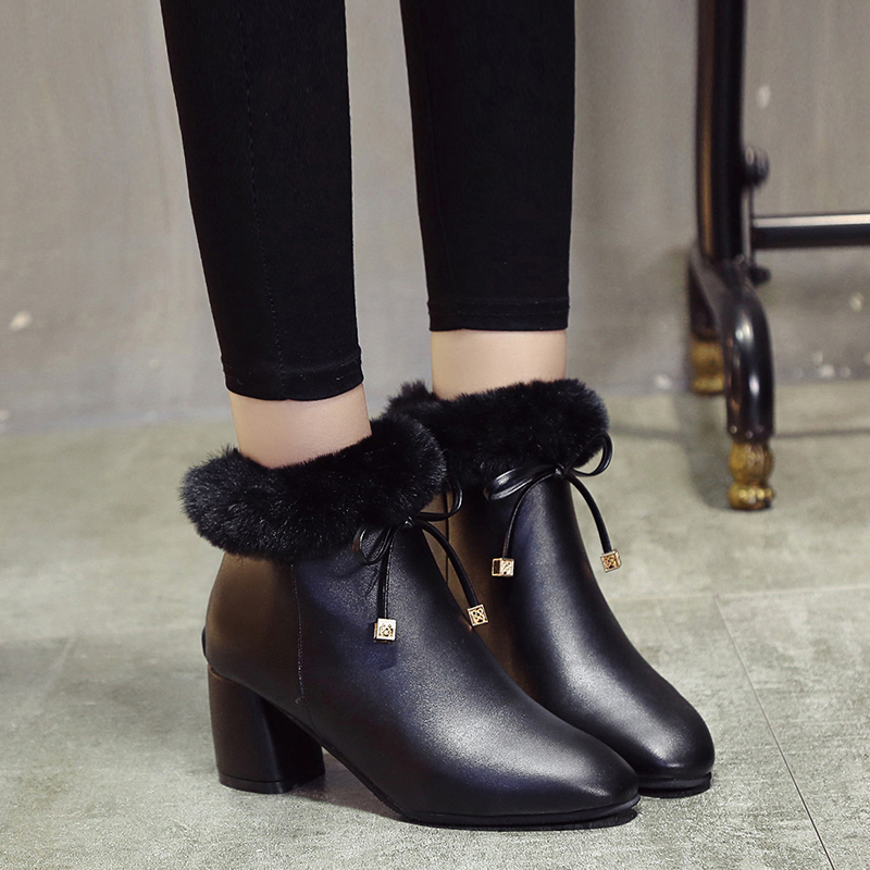 Ms.Noki 2017 Fur hot new Women shoes PU Square heels zapatos Bowie fashion Pointed toe ladies shoes women pumps