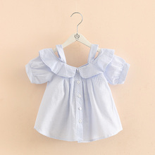 Baby clothes shirts for girls kids cotton clothing 2017 spring new cotton striped strapless short sleeve shrt 2-9 years old