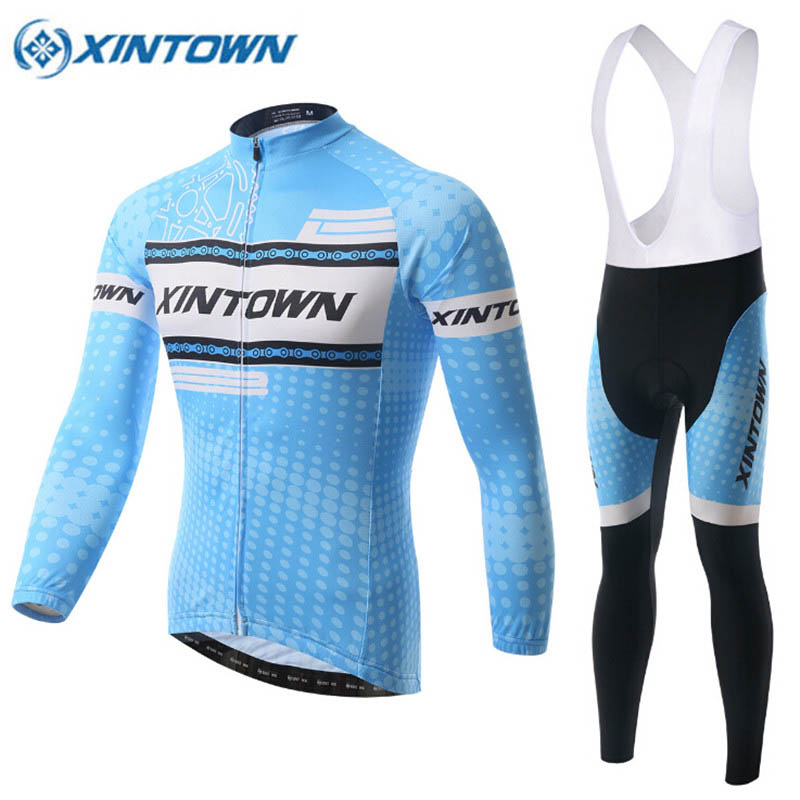 XINTOWN Pro Team Men's Cycling Clothing MTB Bike Bicycle Long Sleeve Jersey Jacket Tights Pants Blue