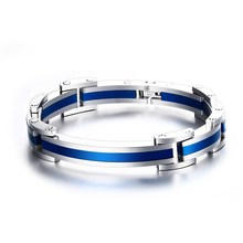 "Men Bracelets Curved Hinged Link Blue Wrist Wristband Stainless Steel Bracelet Bangles Fashion Jewelry Bijoux Homme Pulseira 8""(China)"