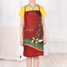 Merry Christmas Gift women Kitchen Apron Pinafore polyester Lady Santa/Snowman/Starry sky Bar cleaning Aprons Xmas Pinafores Red(China)