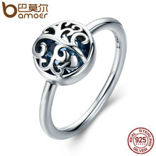 BAMOER Hot Sale 925 Sterling Silver Tree of Life Finger Ring Green Crystal Rings for Women Sterling Silver Jewelry Gift SCR194(China)