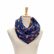 Women Voile Scarf Ladies Fox Pattern Print Wrap Shawl Female Ring Silk Infinity Scarves Loop #OR