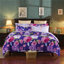 new polyester flower american style pink blue purple queen twin full bedding bed sheet set duvet cover set bedding set