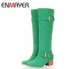 ENMAYER Hot Sale Knee Boots Women Winter High Heel Long Boots Slim Sexy Buckles Nubuck Leather Shoes Women Large Size 34-43(China)