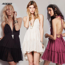 2017 summer dress backless de playa de vacaciones sin tirantes lindo dress sexy vestido de fiesta corto sweet dress vestidos lace dress plisado caliente