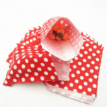 25pcs/lot Polka Red Dot Kraft Paper Bags Popcorn Food Gifts Candy Treat Bags Wedding Birthday Buffet Party Decoration Favor(China)