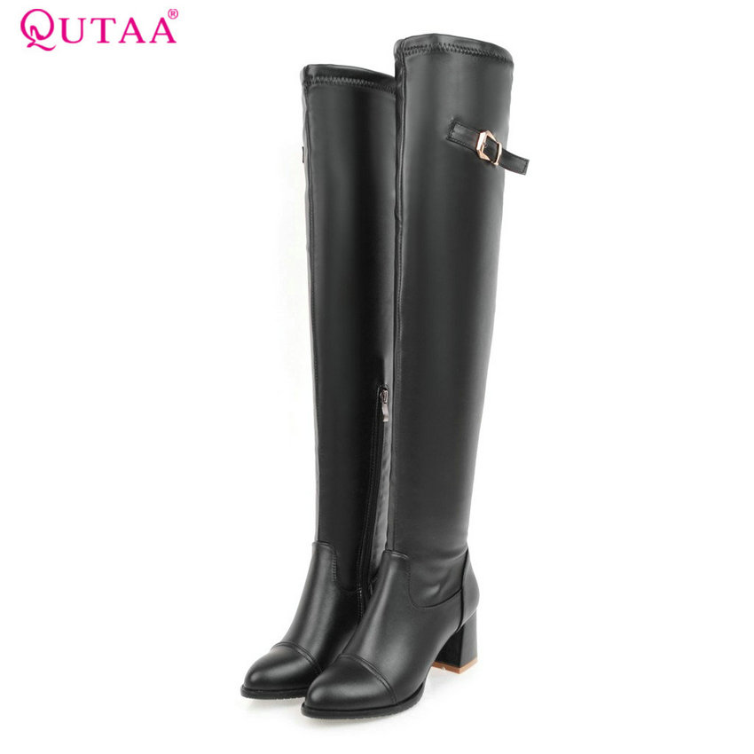 QUTAA 2017 Women Over The Knee High Boots Pu Leather Fashion Zipper Design Pointd Toe Square High Heel Women Boots Size 34-43<br>