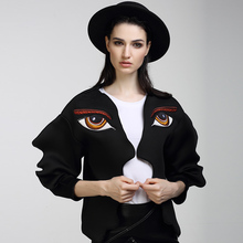HIGH QUALITY New Fashion 2017 Runway Designer Jacket Women's 3D Wave Cutting Eyes Embroidery Face Jacket Outerwear