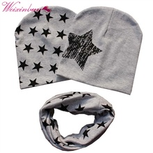 WEIXINBUY Baby Cotton Stars Hat Toddler Kids Boys Girls 2 Pcs Caps + 1 Pcs Scarf Warp Set Hot Sales(China)