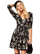 V Neck Wrap Cotton Elegant High Waist Black Floral Print Mini Short Dress Half Sleeve Sexy Flower A Line Casual Woman 2016(China)
