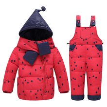 2017 Winter Baby Girls clothing Sets Children Down Jackets Kids Snowsuit Warm baby Ski suit down Jackets Outerwear Coat+Pants(China)