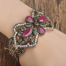 Blucome Vintage Resin Flower Bangles Antique Turkish Women Gifts Wide Big Bracelet Bangle Full Crystal Hand Jewelry Diameter 6cm